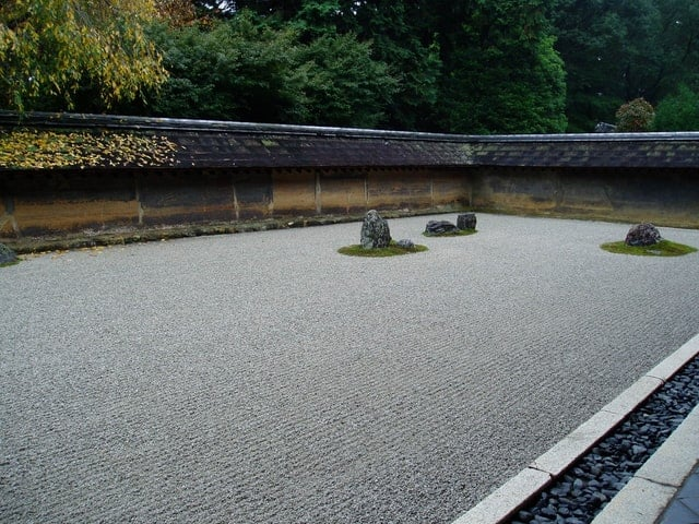 Japanese rock garden with negative space