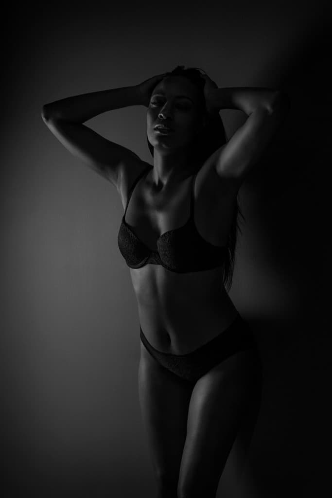 Black & white standing boudoir pose