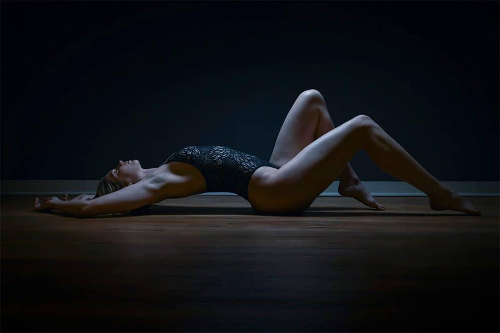 Boudoir floor pose