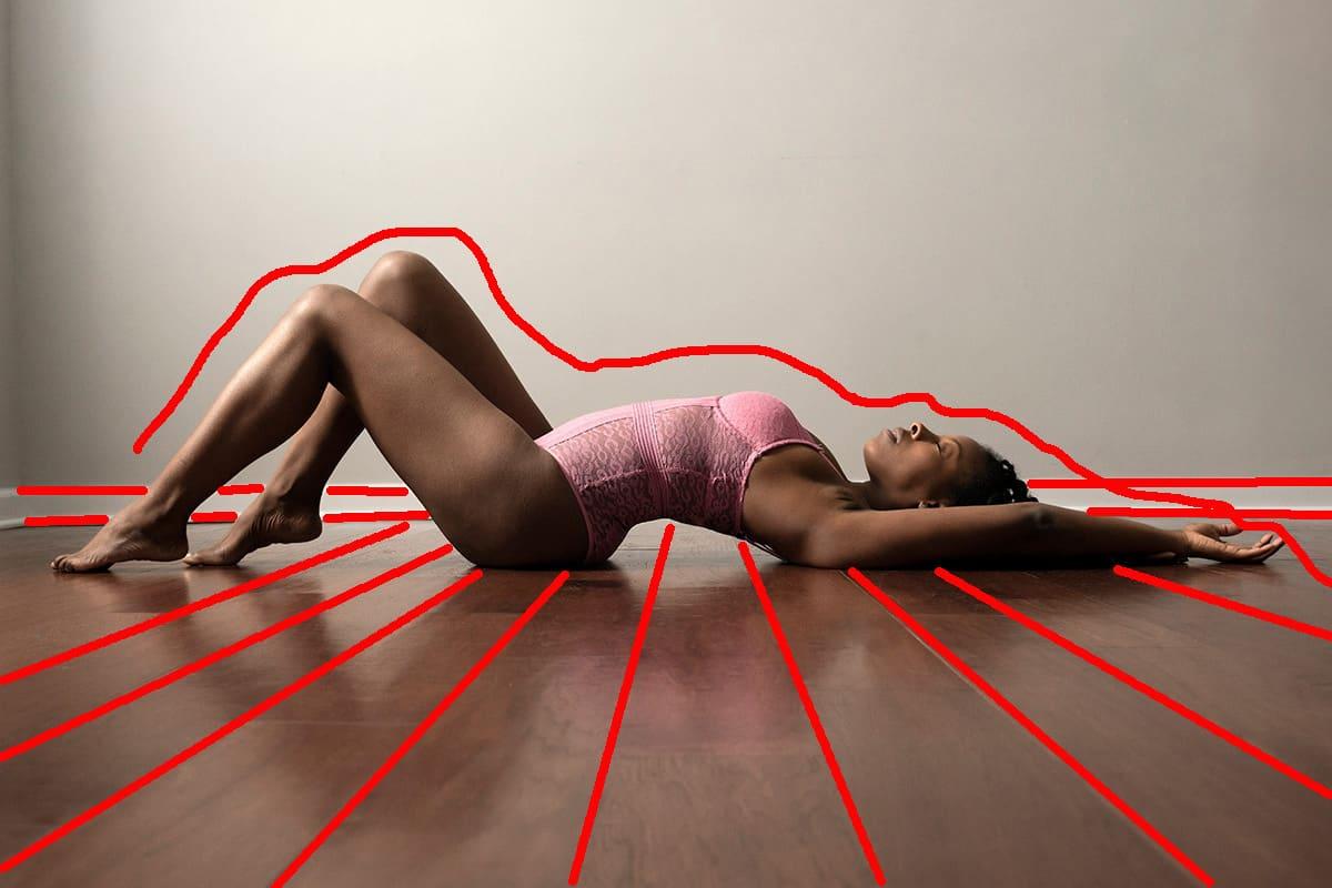 Geometric contrast boudoir pose